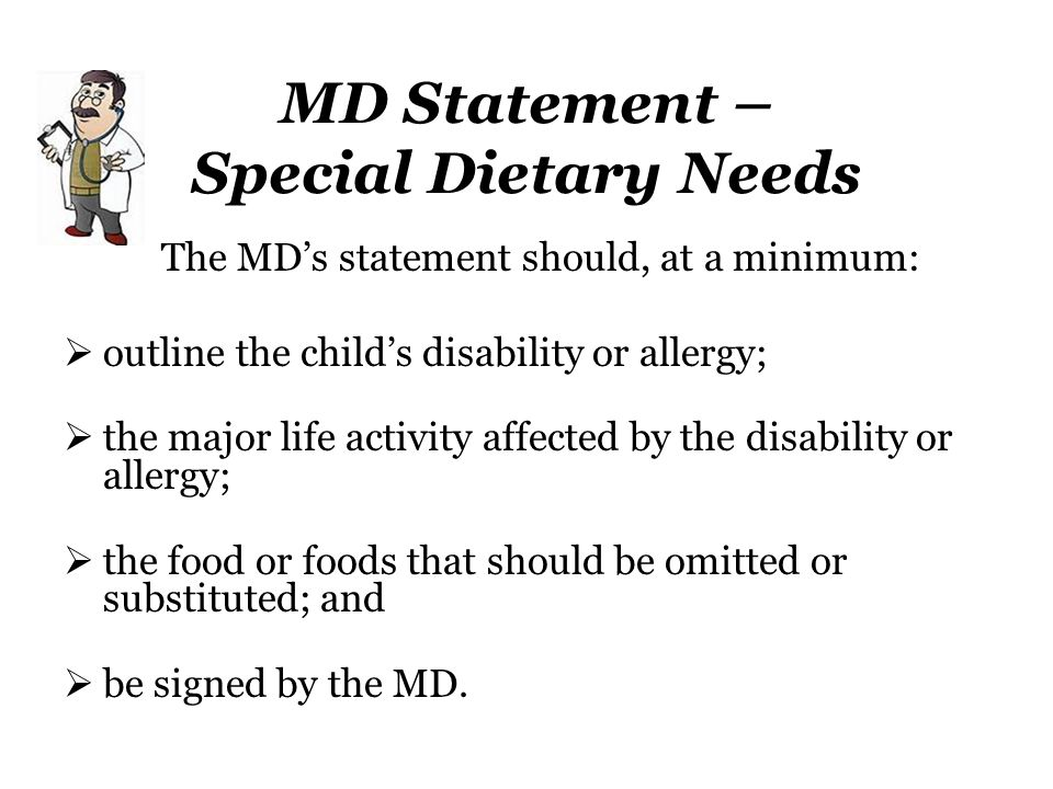 MD Statement – Special Dietary Needs