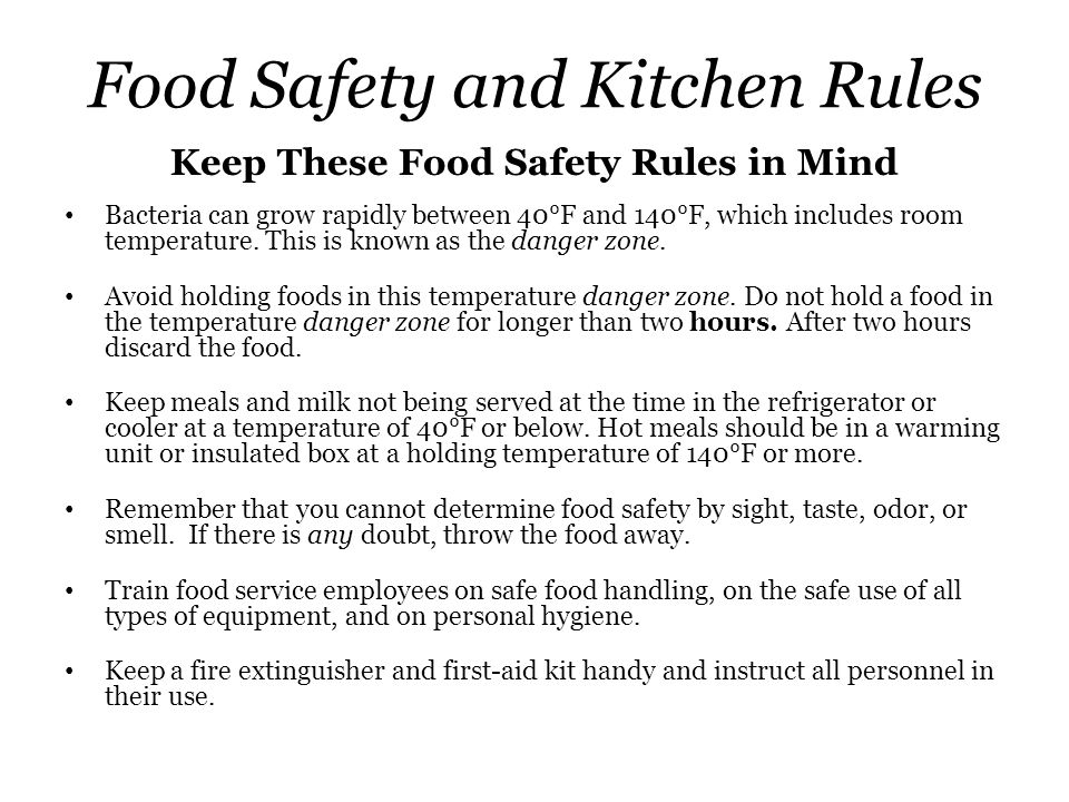 Food Safety and Kitchen Rules