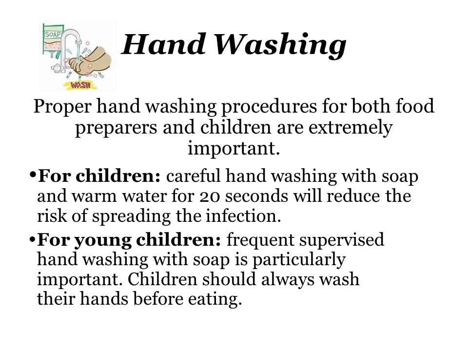 Hand Washing Proper hand washing procedures for both food preparers and children are extremely important.