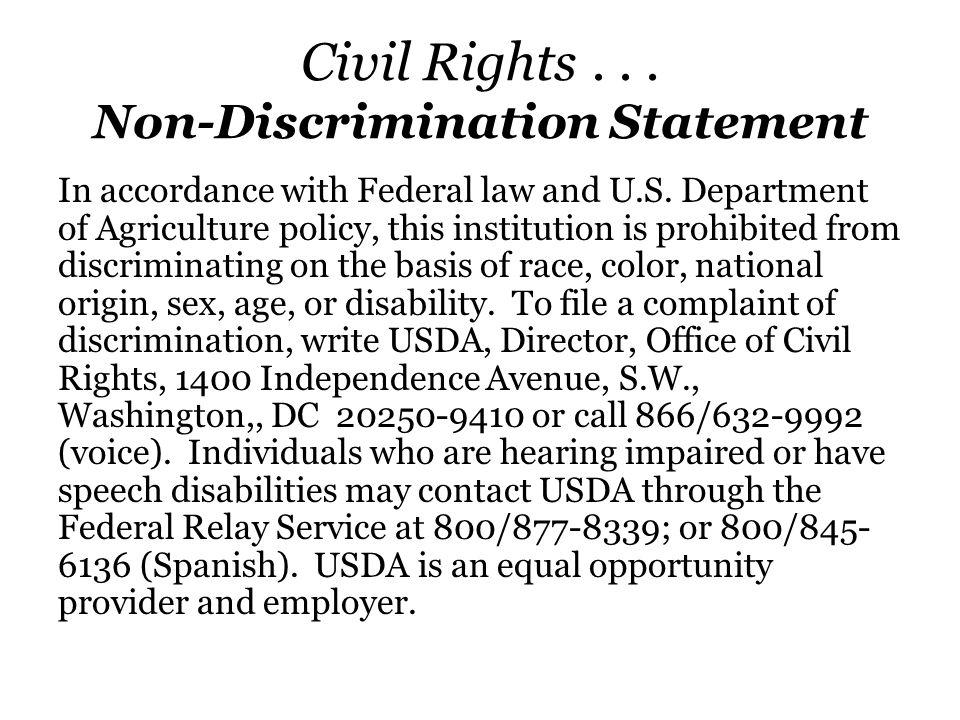 Civil Rights . . . Non-Discrimination Statement