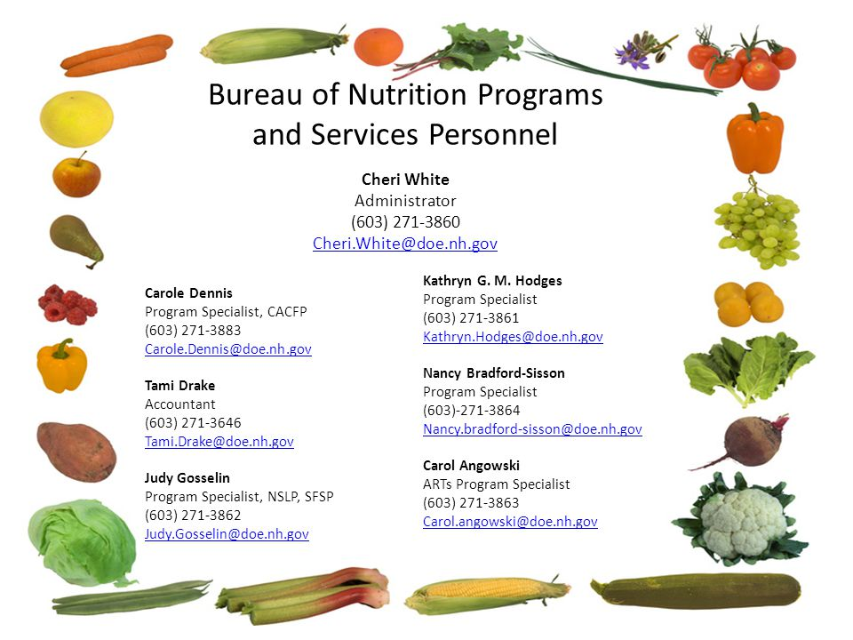 Bureau of Nutrition Programs and Services Personnel Cheri White Administrator (603) 271-3860 Cheri.White@doe.nh.gov