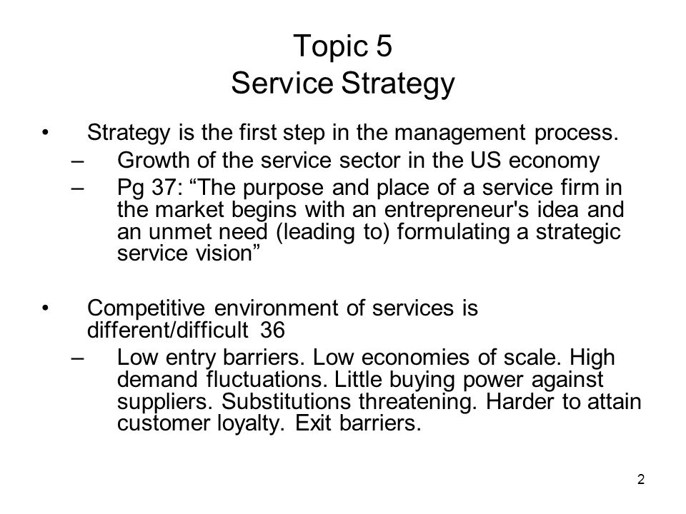 Topic 5 Service Strategy