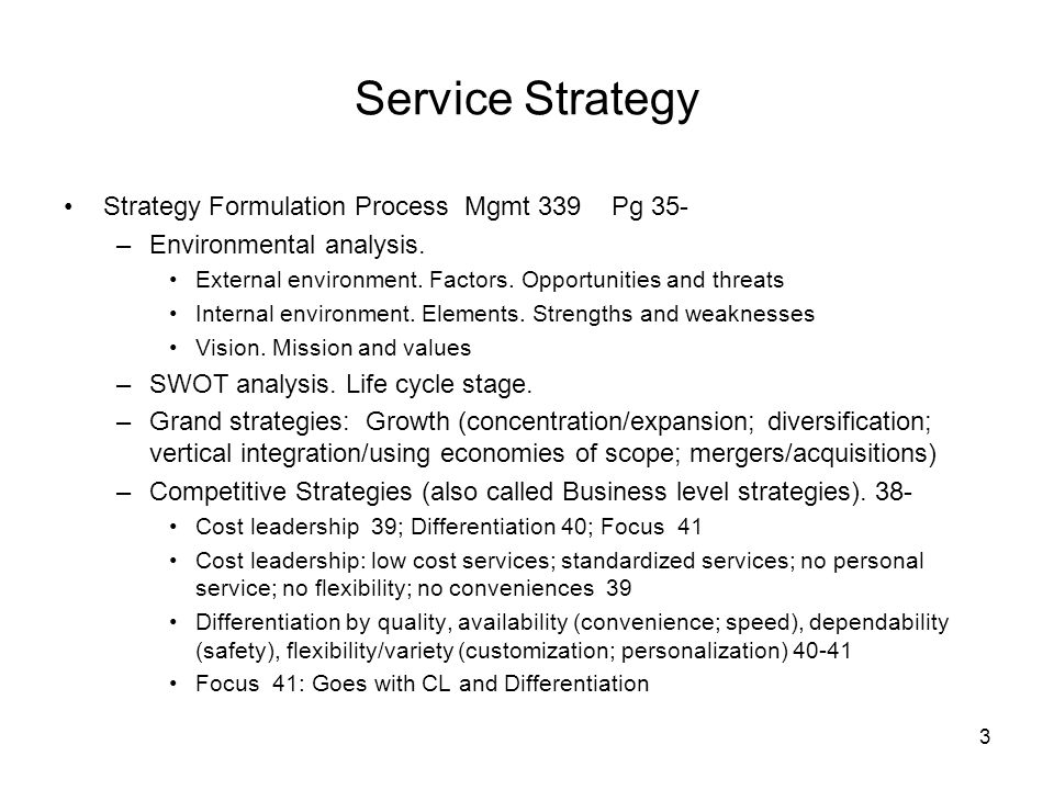 Service Strategy Strategy Formulation Process Mgmt 339 Pg 35-