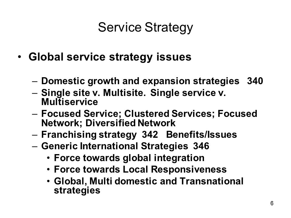 Service Strategy Global service strategy issues