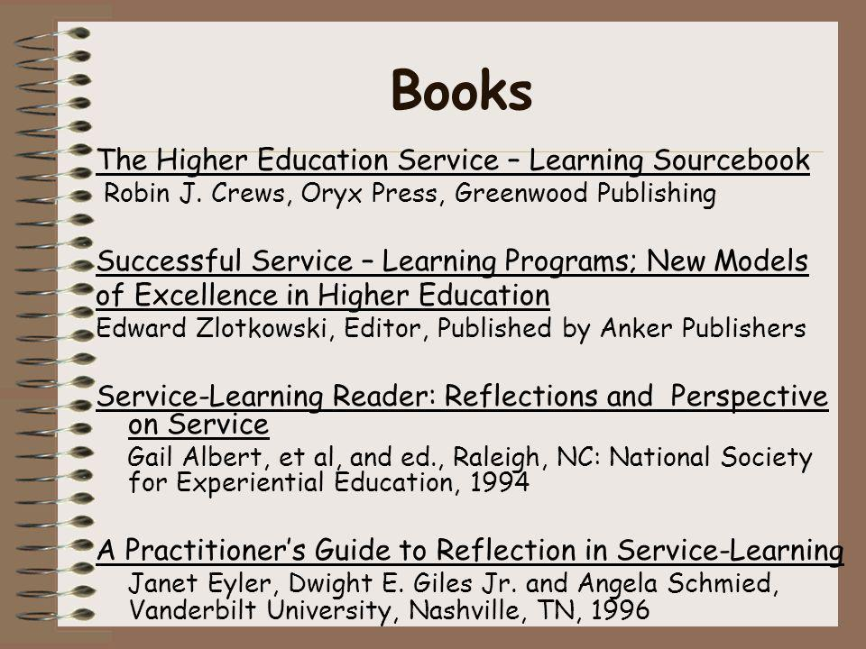 Books The Higher Education Service – Learning Sourcebook