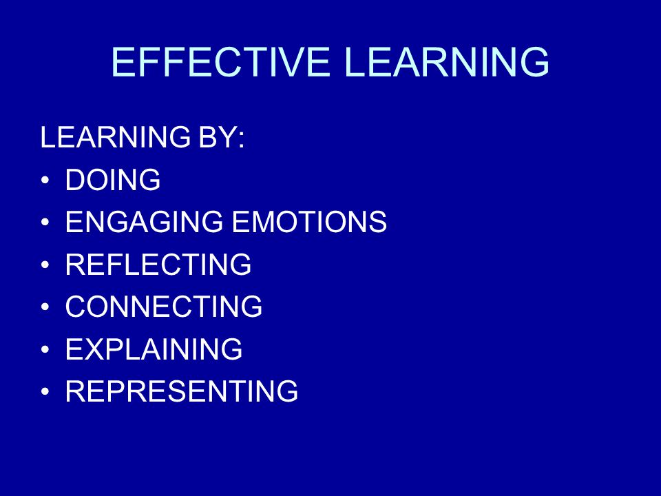 EFFECTIVE LEARNING LEARNING BY: DOING ENGAGING EMOTIONS REFLECTING