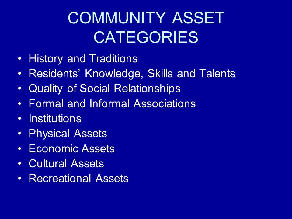 COMMUNITY ASSET CATEGORIES