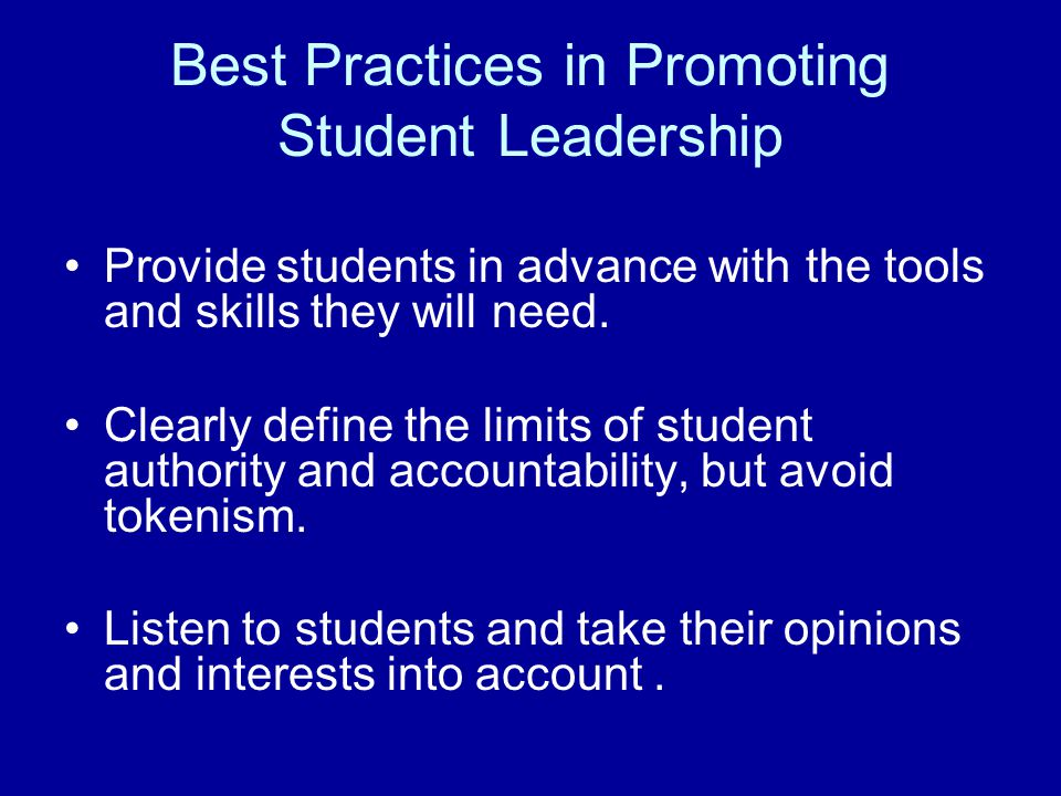 Best Practices in Promoting Student Leadership