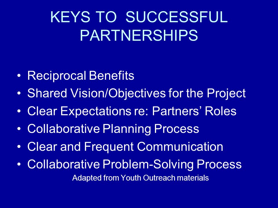 KEYS TO SUCCESSFUL PARTNERSHIPS