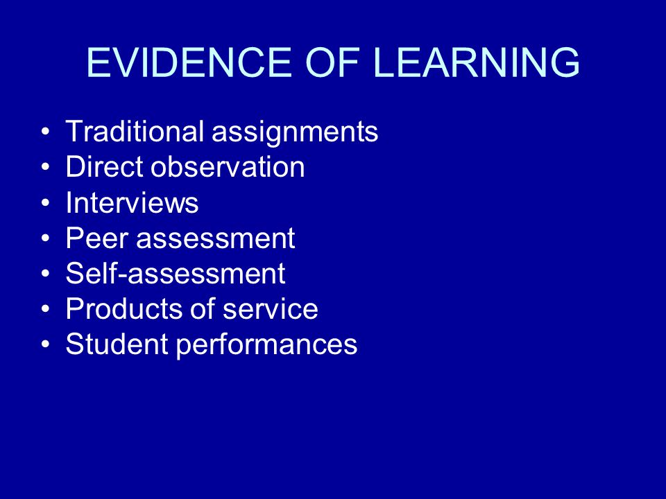 EVIDENCE OF LEARNING Traditional assignments Direct observation