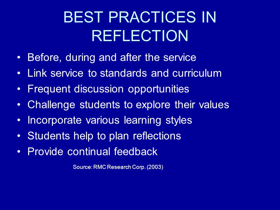 BEST PRACTICES IN REFLECTION
