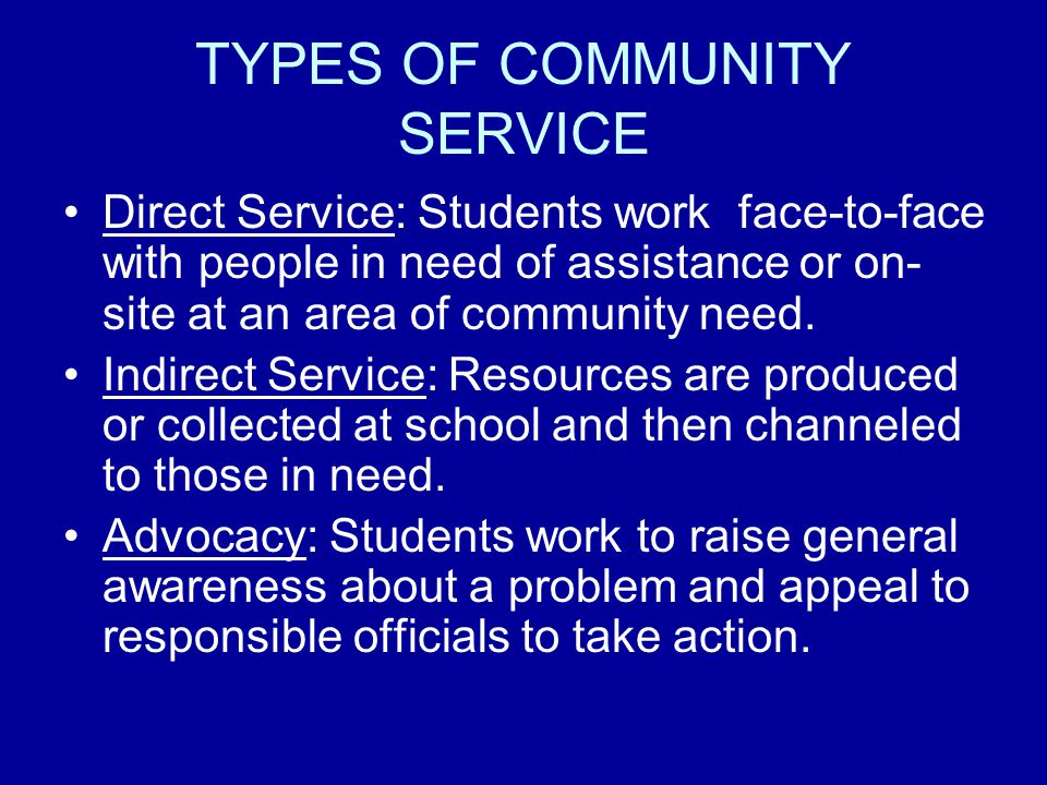 TYPES OF COMMUNITY SERVICE