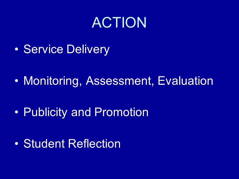 ACTION Service Delivery Monitoring, Assessment, Evaluation
