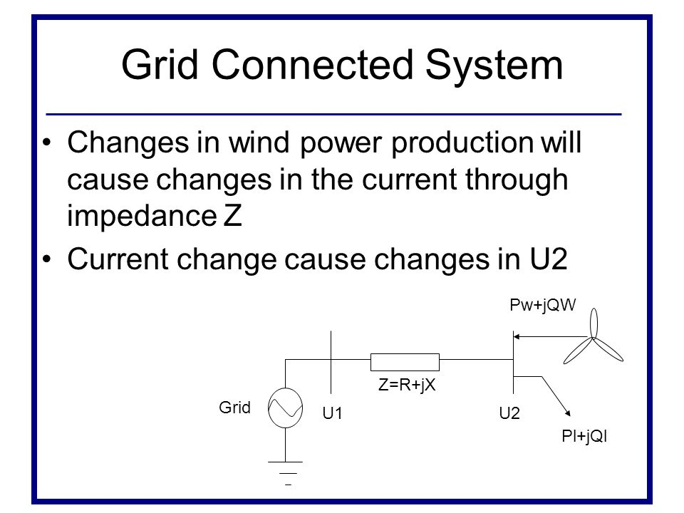 Grid Connected System Changes in wind power production will cause changes in the current through impedance Z.