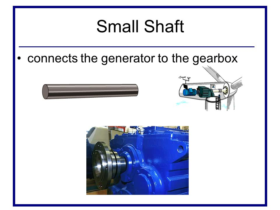 Small Shaft connects the generator to the gearbox