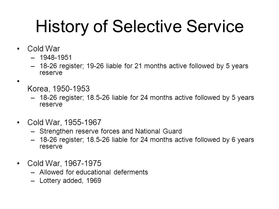 History of Selective Service