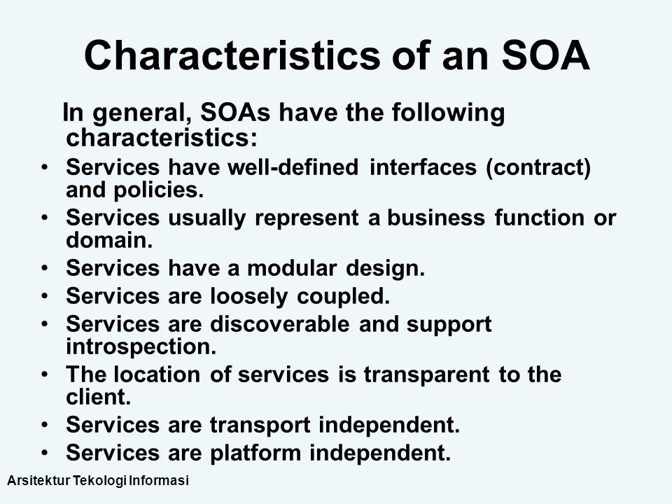 Characteristics of an SOA