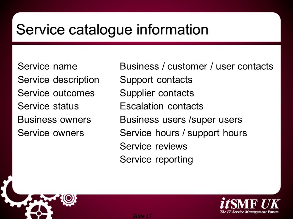 Service catalogue information