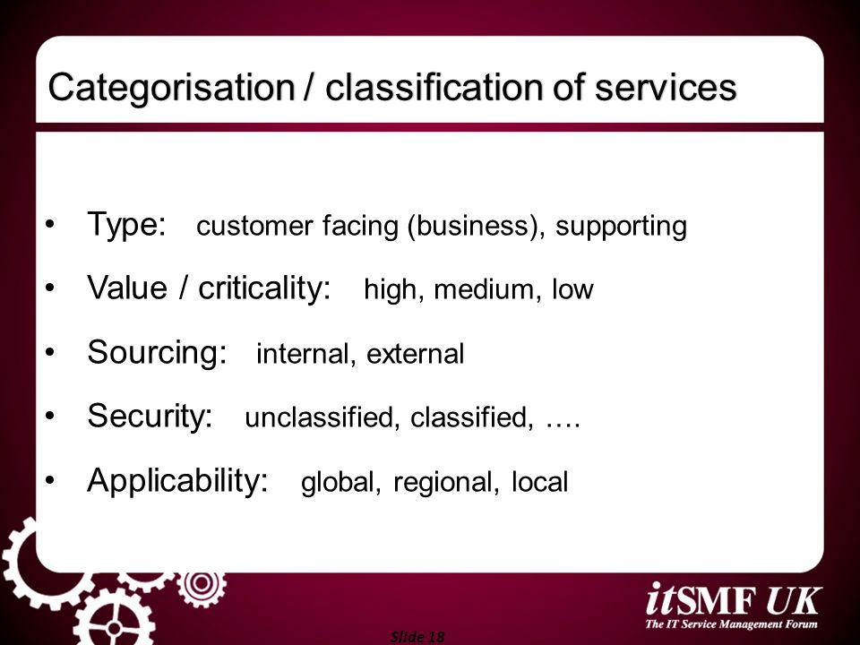 Categorisation / classification of services