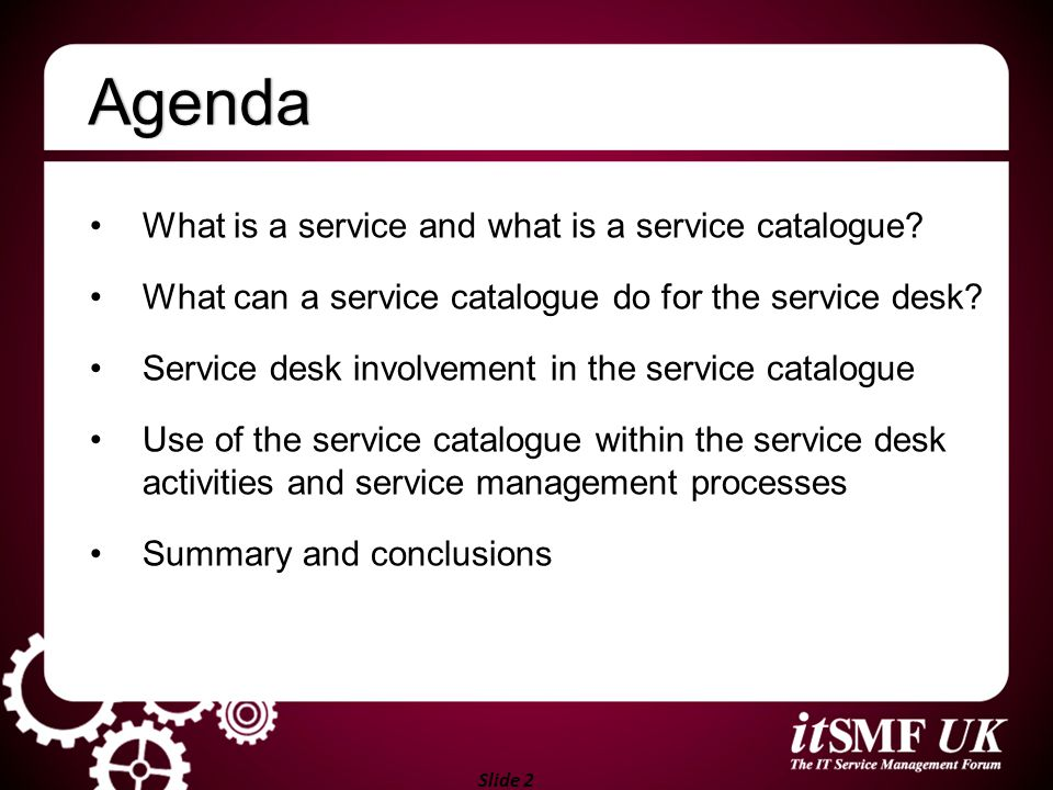 Agenda What is a service and what is a service catalogue