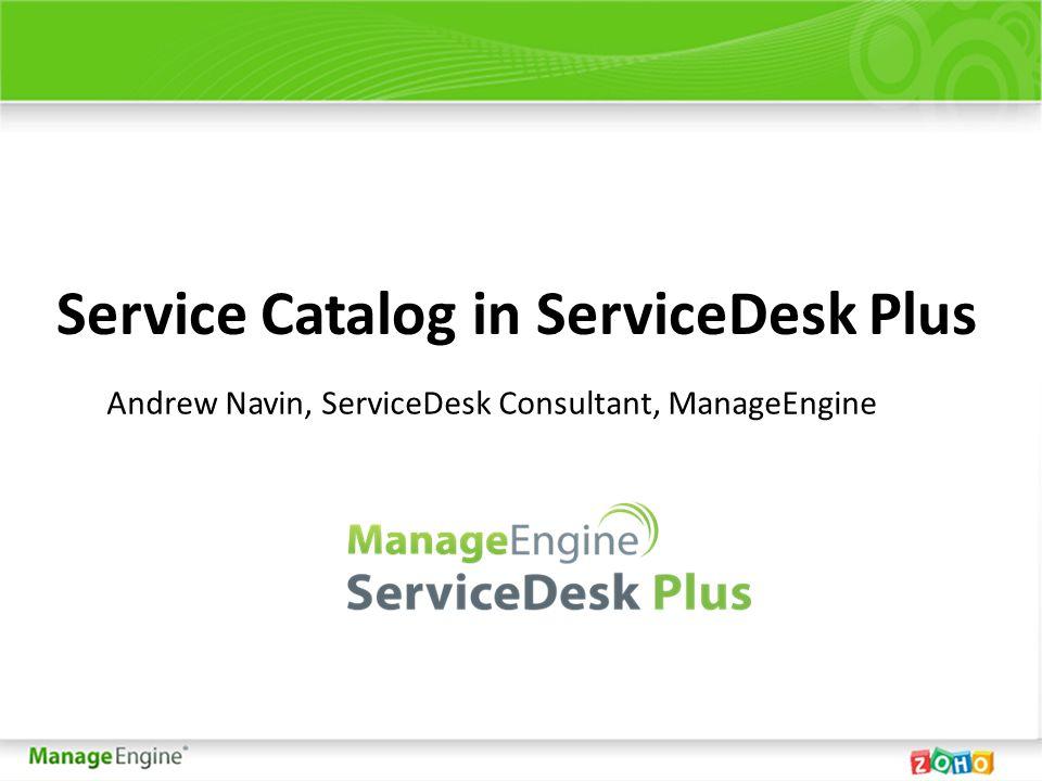 Service Catalog in ServiceDesk Plus