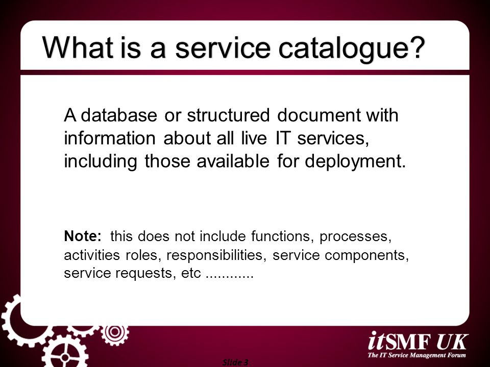 What is a service catalogue