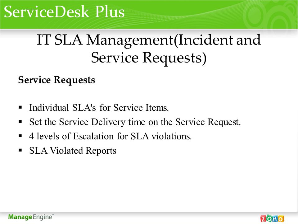 IT SLA Management(Incident and Service Requests)