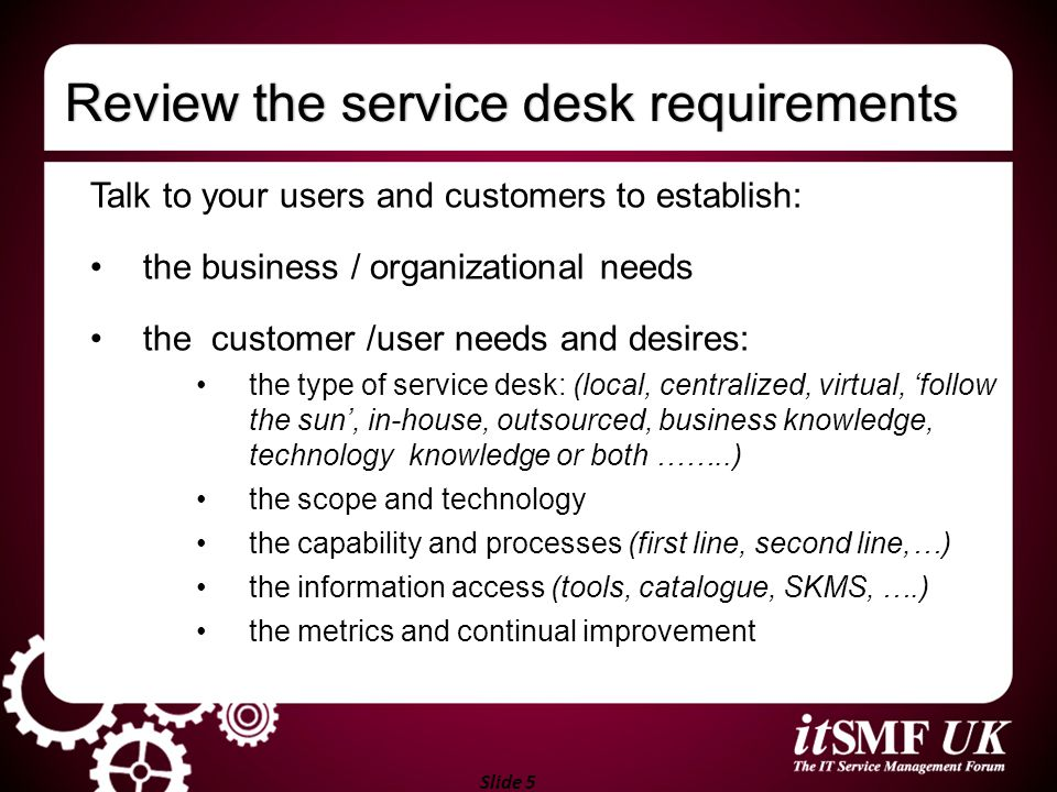 Review the service desk requirements