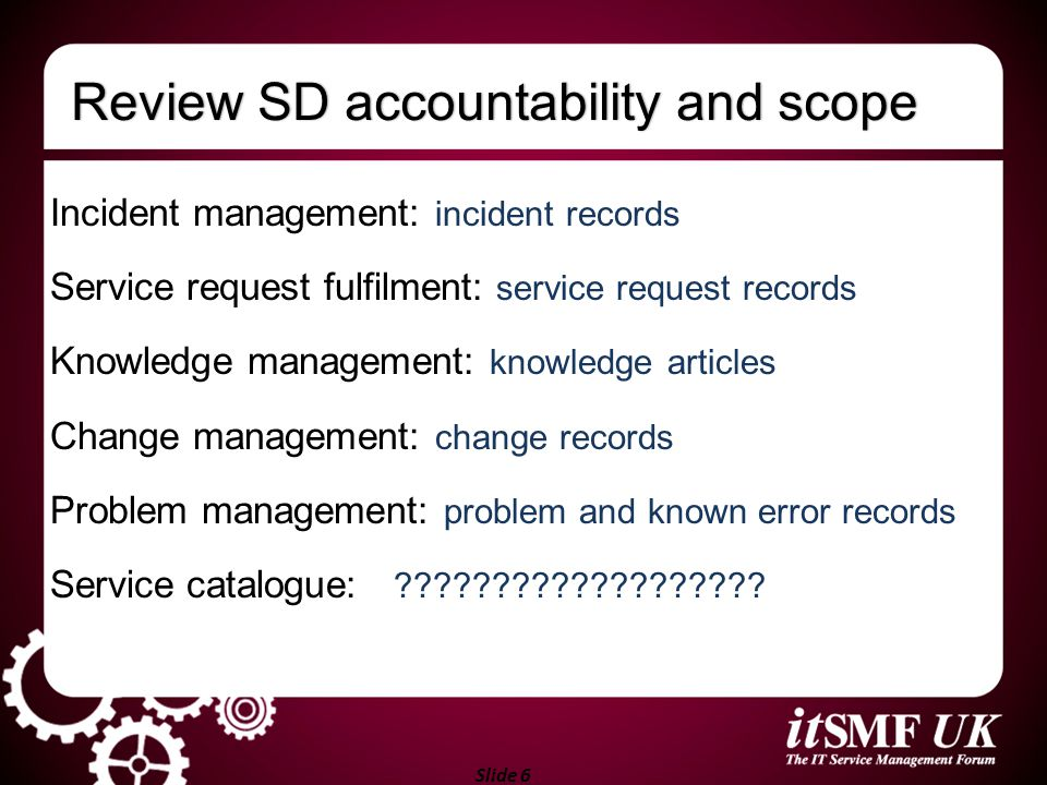 Review SD accountability and scope