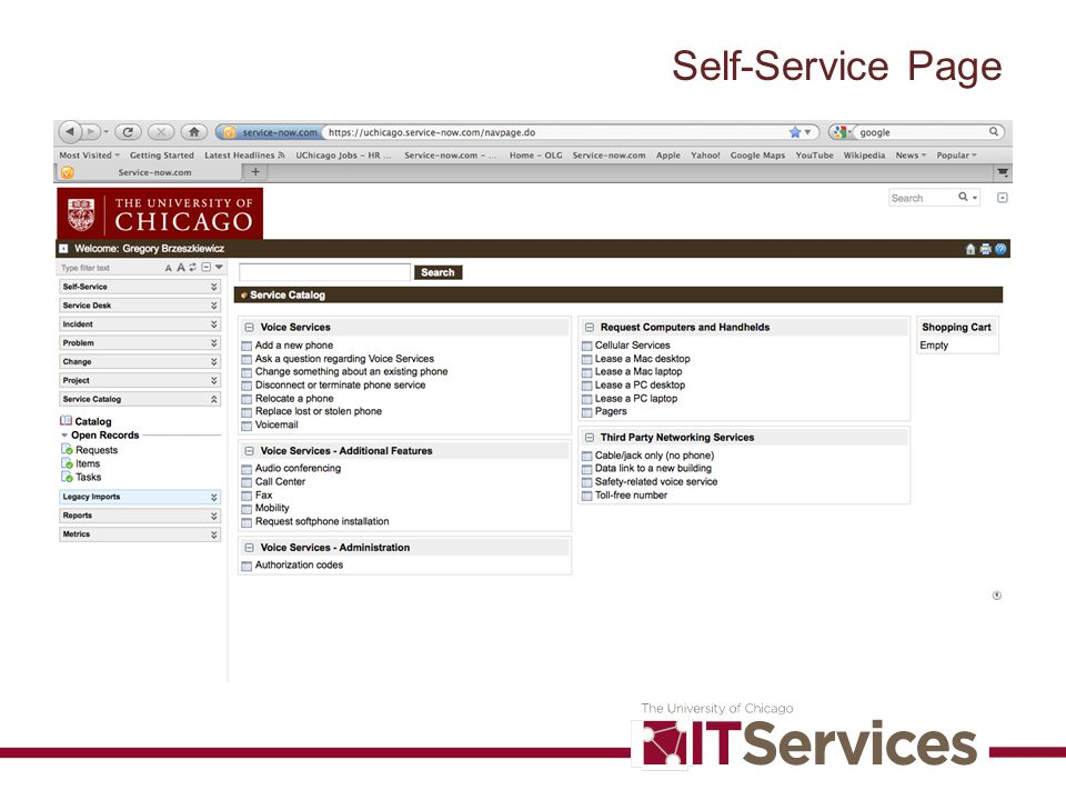Self-Service Page