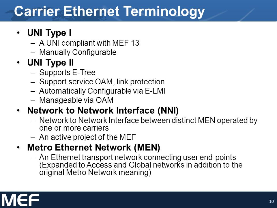 Carrier Ethernet Terminology