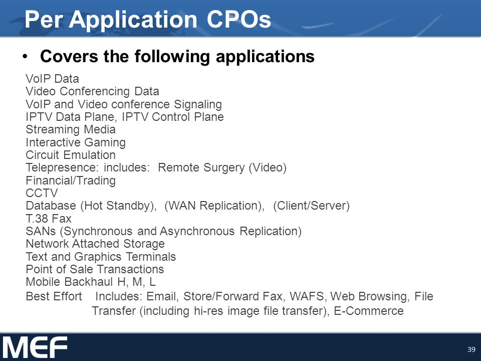Per Application CPOs Covers the following applications VoIP Data