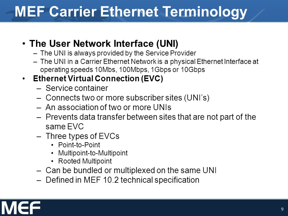 MEF Carrier Ethernet Terminology