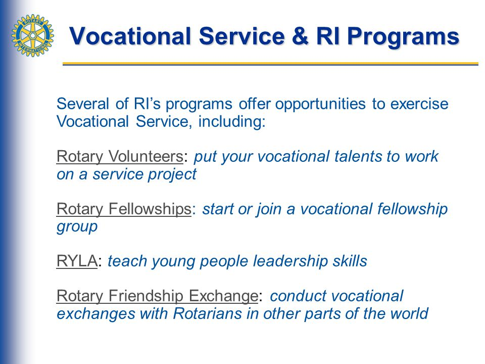 Vocational Service & RI Programs