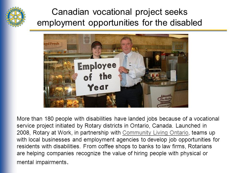 Canadian vocational project seeks employment opportunities for the disabled