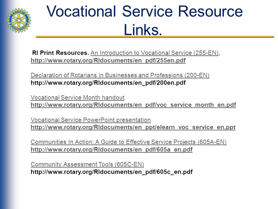 Vocational Service Resource Links.