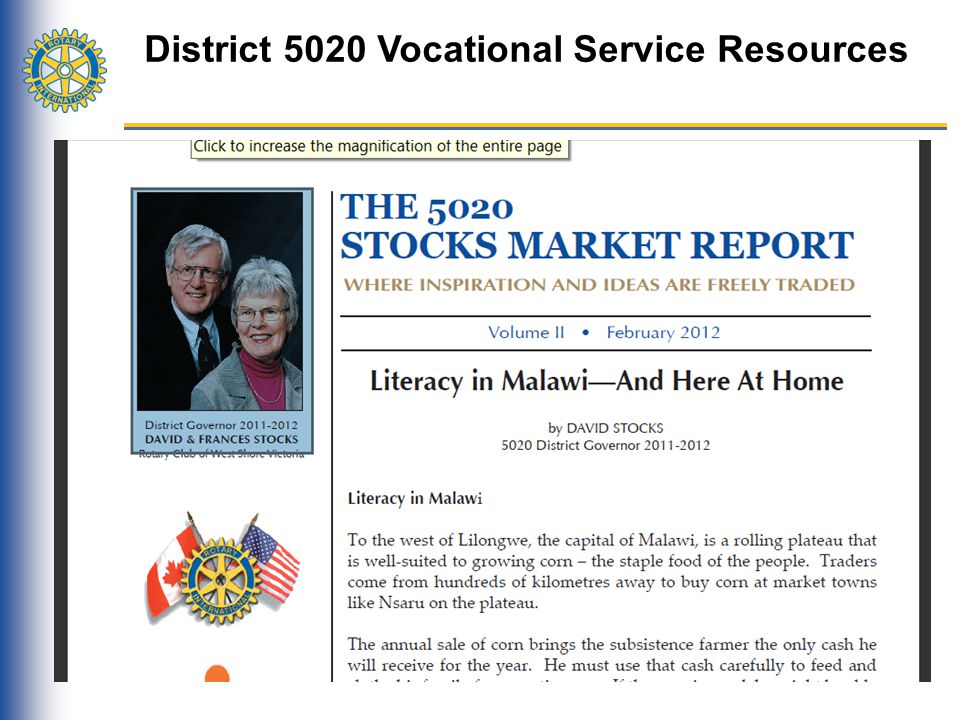 District 5020 Vocational Service Resources