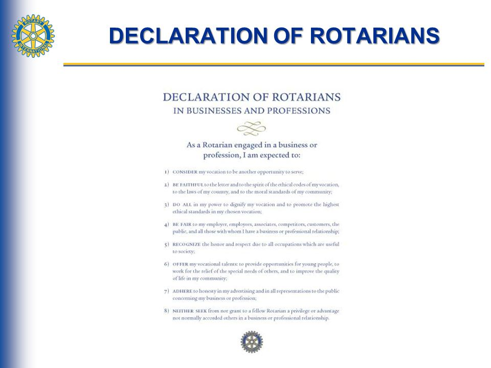 DECLARATION OF ROTARIANS