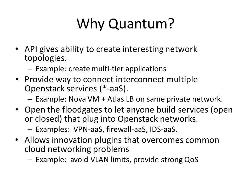 Why Quantum API gives ability to create interesting network topologies. Example: create multi-tier applications.