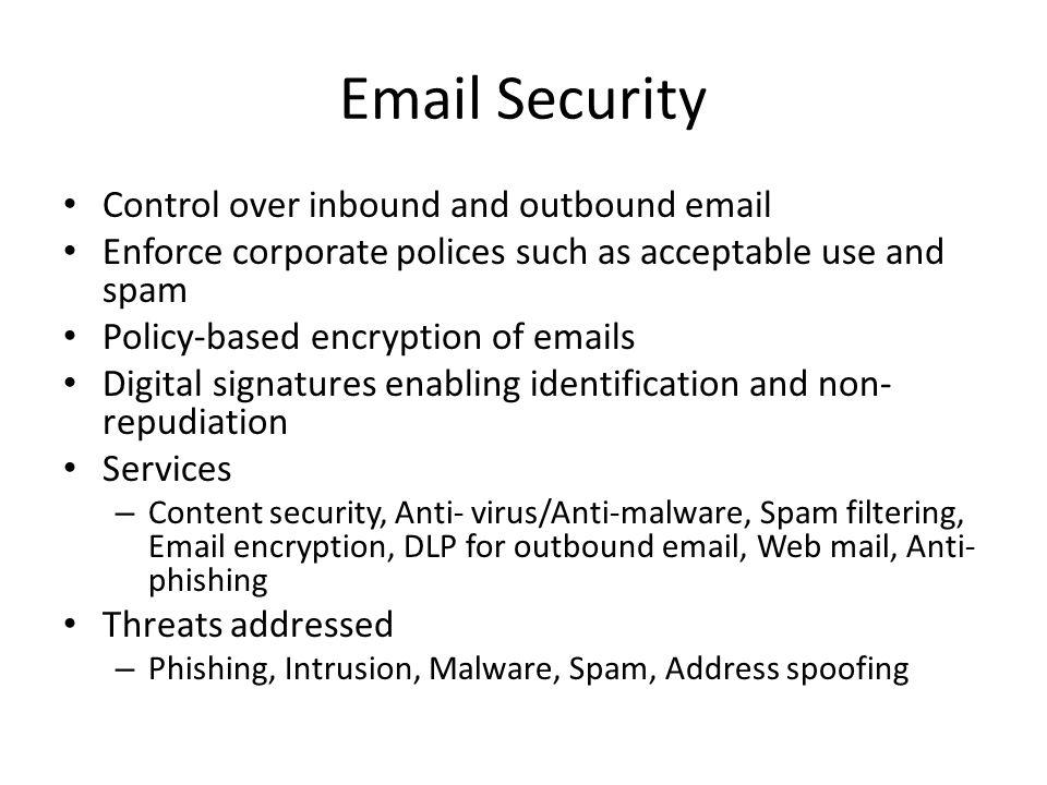 Email Security Control over inbound and outbound email