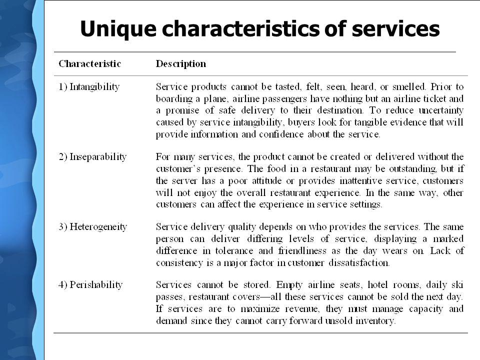 Unique characteristics of services