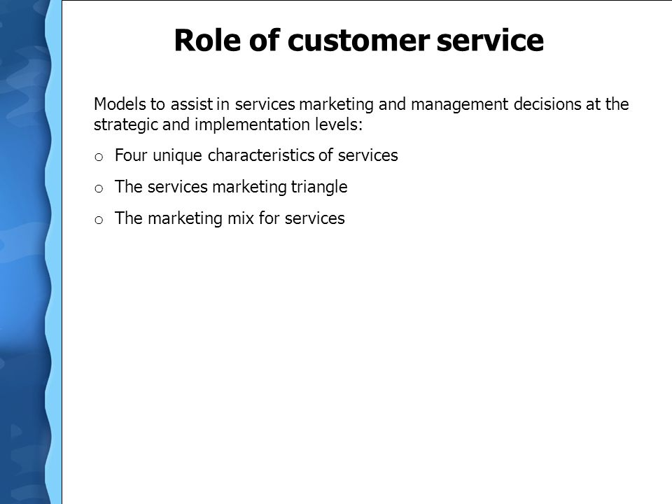 Role of customer service
