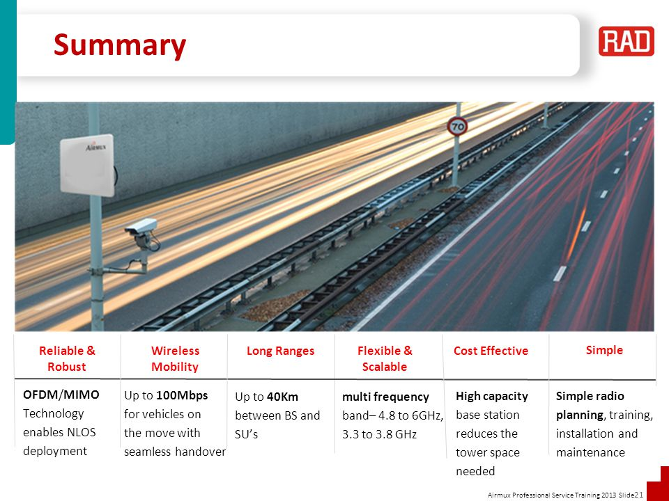 Summary Reliable & Robust Wireless Mobility Long Ranges