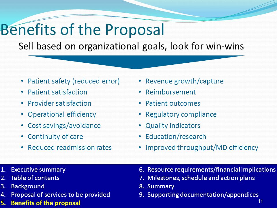 Benefits of the Proposal