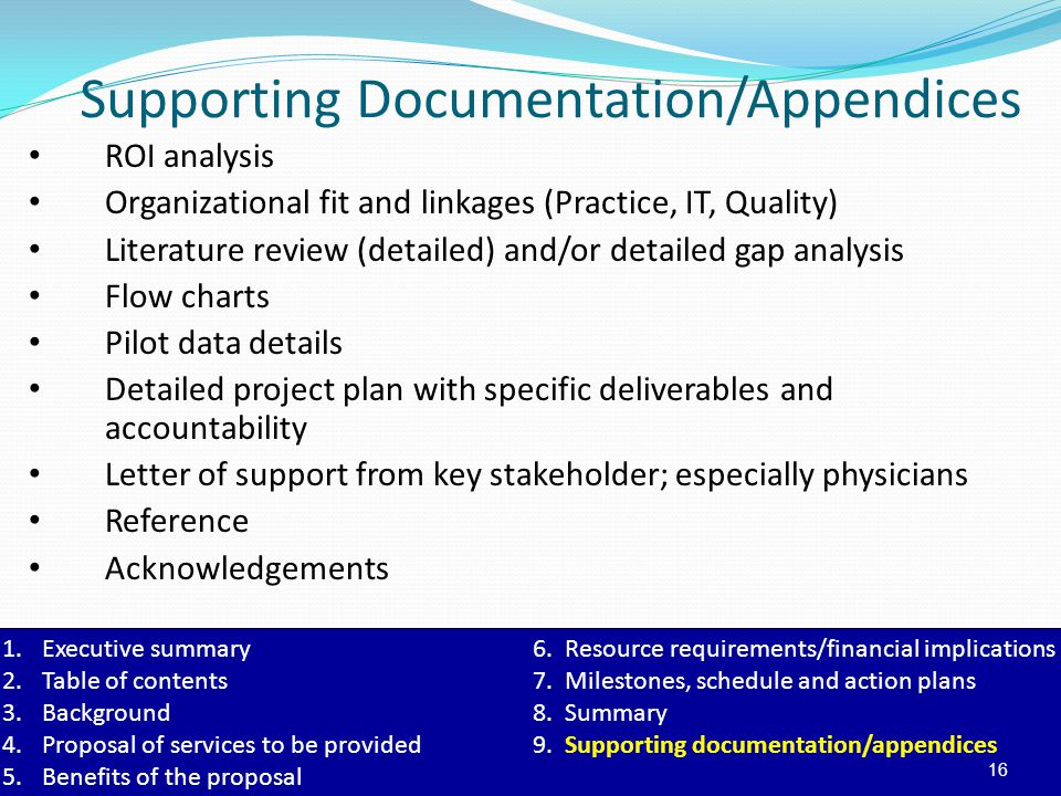 Supporting Documentation/Appendices