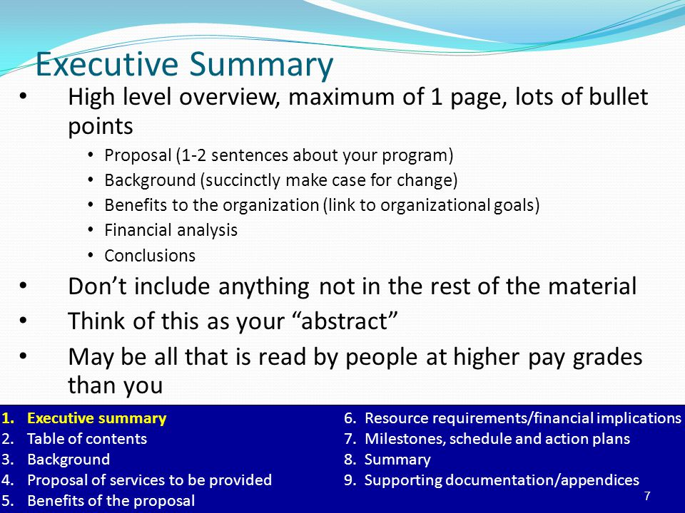 Executive Summary High level overview, maximum of 1 page, lots of bullet points. Proposal (1-2 sentences about your program)