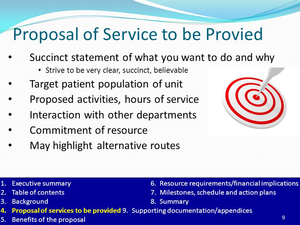 Proposal of Service to be Provied