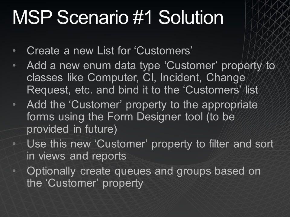 MSP Scenario #1 Solution