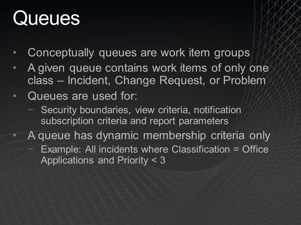 Queues Conceptually queues are work item groups