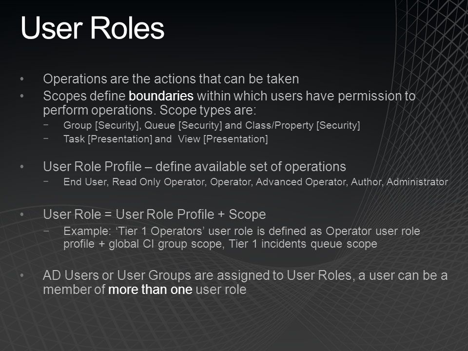 User Roles Operations are the actions that can be taken